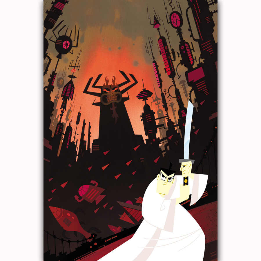 MQ1410 ONS Comic Serie TV Cartoon Movie Film Samurai Jack Hot nieuwe Poster Top Zijde Licht Canvas Decor Muur Foto Print