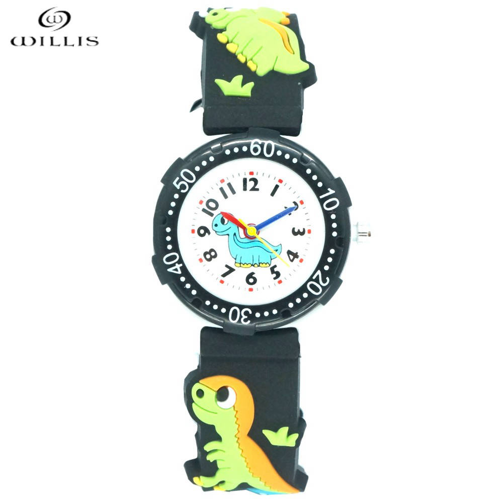 WILLIS Brand Waterproof Kids Watch Children Dinosaur 3D Cartoon Silicone Watches Quartz Fashion Casual Relogio Children watches willis new fashion cartoon quartz watches 3d flowers children clock waterproof watches kids best leisure gift watch pengnatate