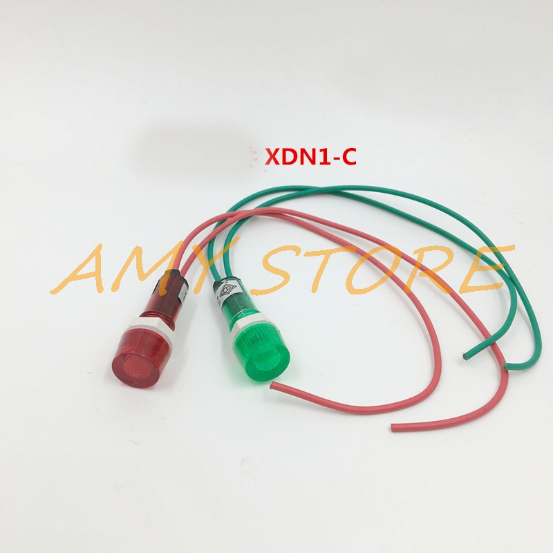 10Pcs AC 220V 380V 24VDC 6.3V Neon Indicator Pilot Signal Lamp Red Green Light W 7.7