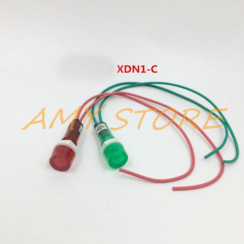 10Pcs AC 220V 380V 24VDC 6.3V Neon Indicator Pilot Signal Lamp Red Green Light W 7.7