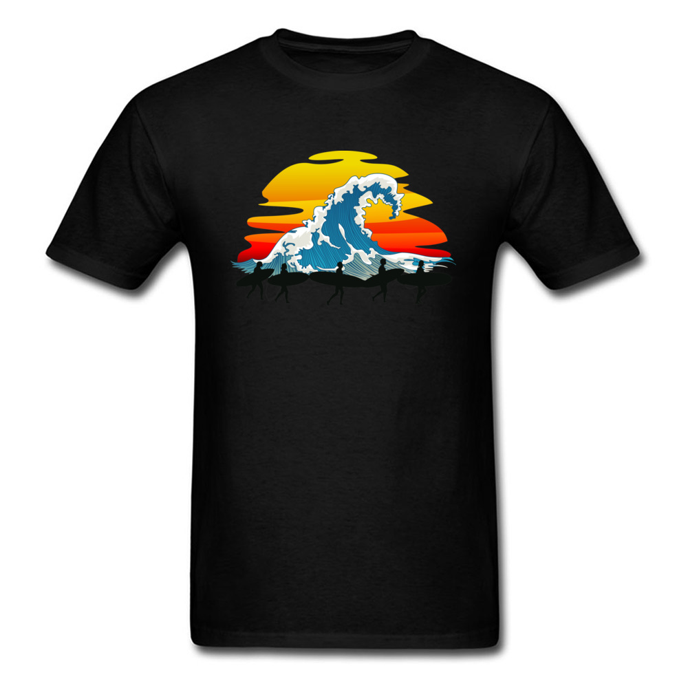 Let's Go! Group Surfer Tee Shirt Great Wave Sunset Print Man Cool T-shirt Short Sleeve Art Design Top Cotton Fabric