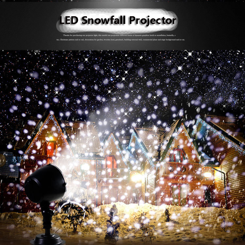 Snowfall Led Stage Lights Displays Projector Show Christmas Outdoor Indoor Rotating Snowflake Lamp Xmas Garden Landscape Decor (10)