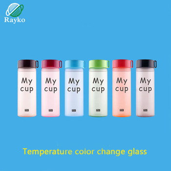 Creative Color Changing Glass Water Bottles Cartoon Frosted Portable Water Bottle Fashion Women Office Drinkware Bottiglia Vetro water bottle