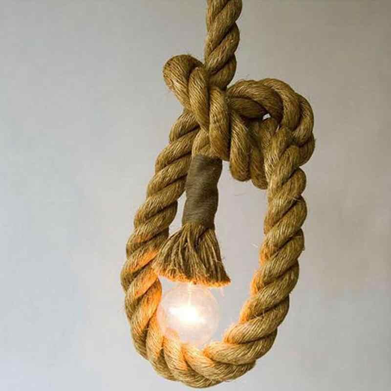 Ни один Винтаж деревенский пеньковая веревка Потолочная люстра проводки E27 220 V подвесной висячий светильник огни для Гостиная Бар Декор