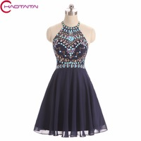 Sparkly Navy Blue Prom Dresses Short 2018 New Fashion Crystal 8 Grade Graduation Dresses Chiffon Junior Homecoming Dress Custom