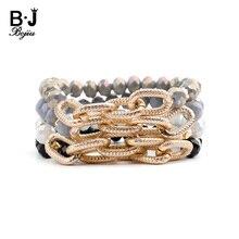 BOJIU, 19 цветов, граненый кристалл, Золотая цепочка, браслеты для женщин, эластичный, желтый, синий, белый, черный, зеленый, синий, бусы, браслет, BC289