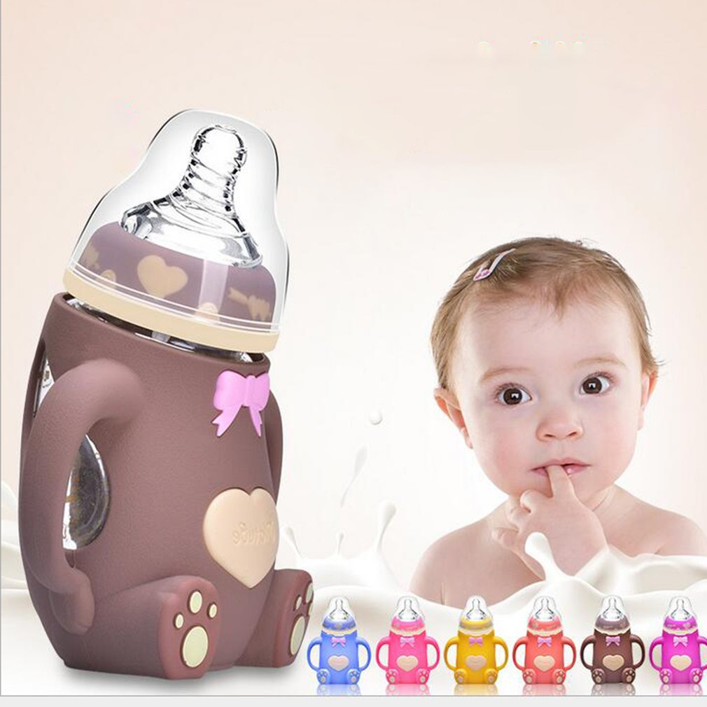 Wide Mouth Glass Milk Bottle With Handle & Protective Silicone Cover Anti Drop Baby Feeding Bottles Baby Infant Supplies 240ml