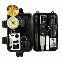 10 Em 1 Kit de Primeiros Socorros de Sobrevivência de Emergência Engrenagem Profissional Ferramentas de Sobrevivência de Acampamento Ao Ar Livre Caminhadas Apito Lanterna Tactical Pen