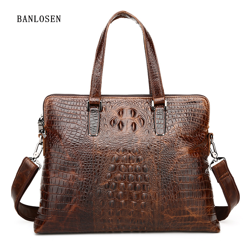 Famous Brand Business Men Briefcase Bag Luxury Genuine Leather Alligator Handbag Man Shoulder Bag YS1309Famous Brand Business Men Briefcase Bag Luxury Genuine Leather Alligator Handbag Man Shoulder Bag YS1309