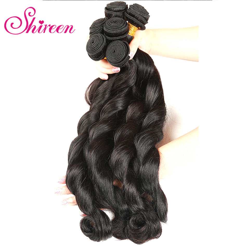 Shireen Brazilian Remy Hair Loose Deep Bundles 8-28 Inch 100% Human Hair Weave 4 Bundle Deals Natural Color More Wave Hair