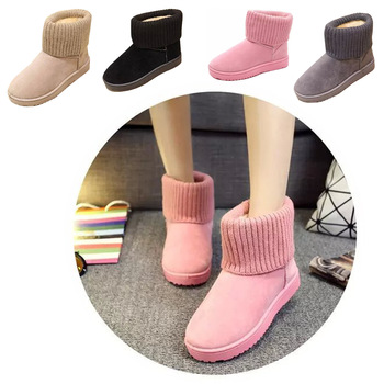 Knitting Women Snow Boots For 2016 New Solid Knitted Ankle Boots Woman Casual Warm Shoes Boot For Ladies Size Plus 40