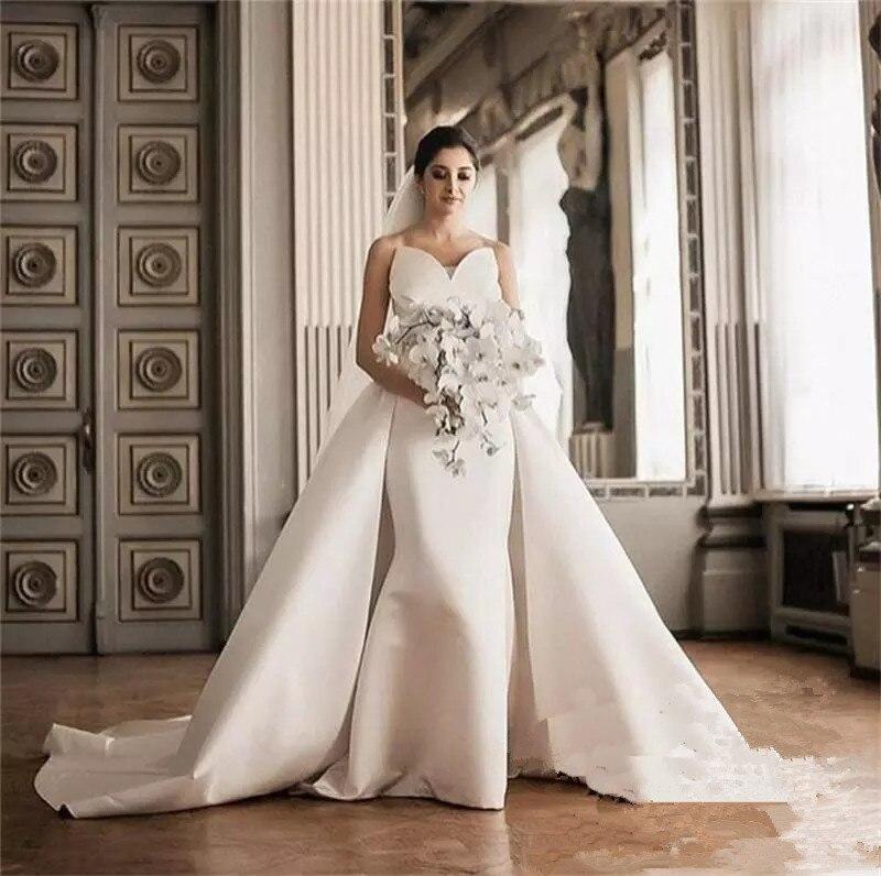 47b9494f1d9 2019 Corset Plus Size Satin Elegant White Mermaid Wedding Dresses Arabic  African Dubai Vestido De Novia Overskirt Bridal Gowns