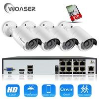 WOASER H 265 8CH 48V POE NVR CCTV System Set 4 0MP OV4689 IP Camera P2P