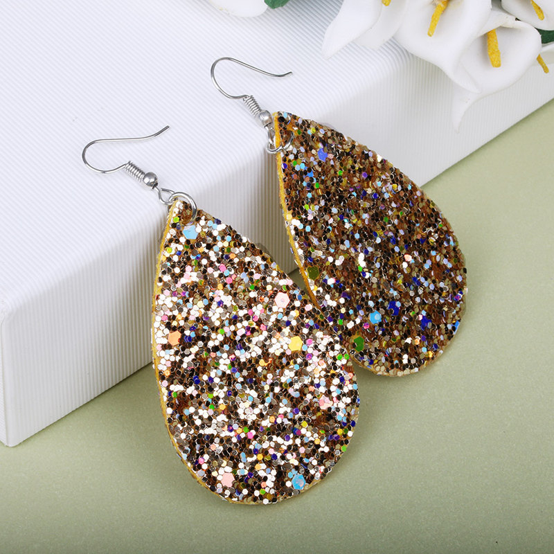 European and American leather crystal shiny retro pendant earrings female bohemian national wind