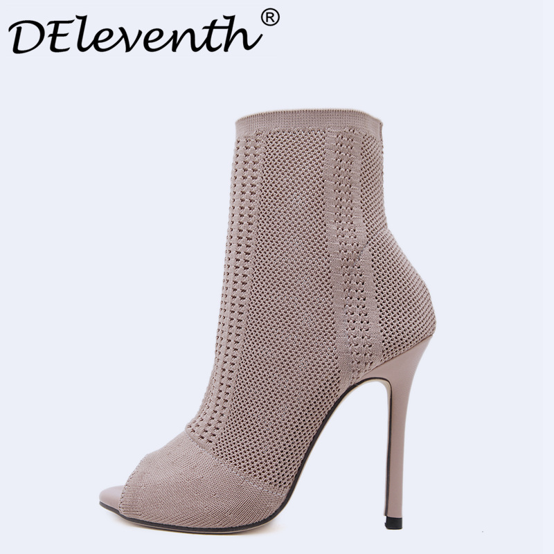 DEleventh Brand Design Women Warn Knitted woolen Socks Boots Peep Toe Stiletto High Heels Cut-outs Boots Ladies Shoes Green Nude