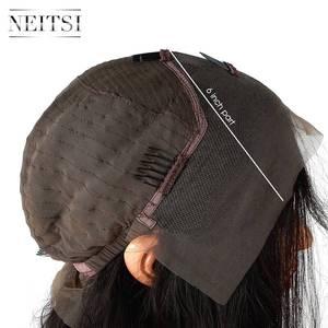 """Image 2 - Neitsi prosto koronki przodu włosów ludzkich peruk 100% Remy włosy 14 """"16"""" 18 """"20"""" 22 """"naturalny czarny kolor 150% gęstości naturalną linią włosów"""