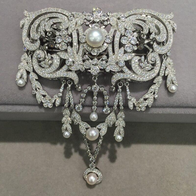 Victoria 925 en argent sterling avec zircon cubique broche broches Classique perle d'eau douce broche et bijoux fermoir à double usage