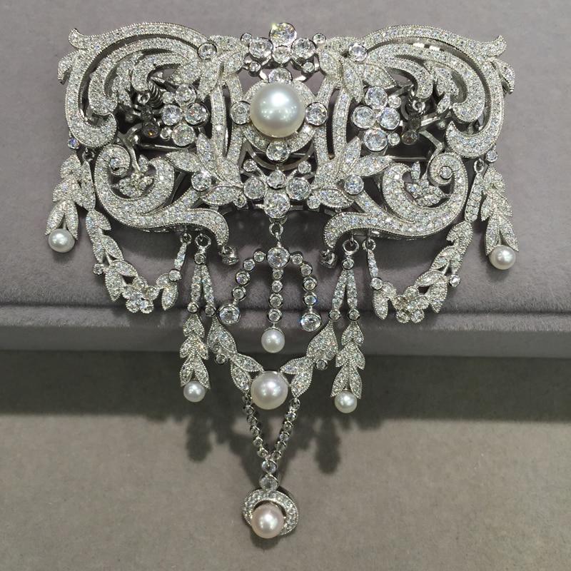 Victoria 925 pinos broche de prata com cubic zircon Clássico de água doce broche de pérolas e jóias fecho duplo uso