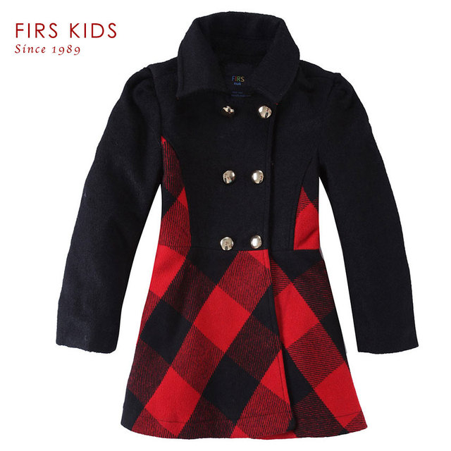 4ef54c63e280 Autumn And Winter Baby Girls Coat Woolen Trench Children Outwear ...