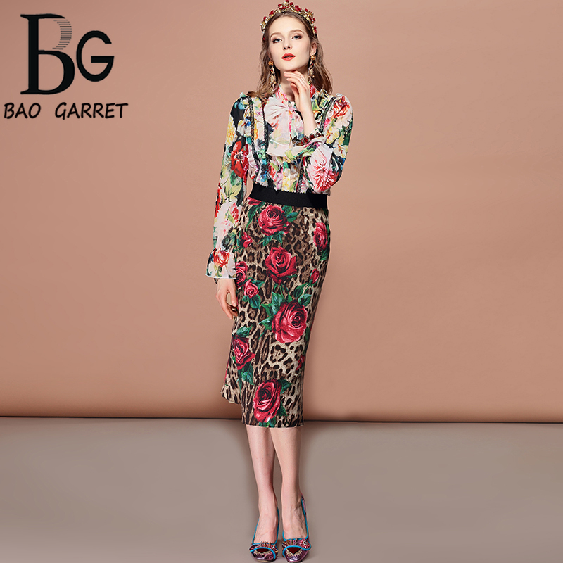 Baogarret Fashion Summer Skirt Women 39 s Elegant Elastic Waist Bodycon Sexy Rose Floral Leopard Print Midi Pencil Skirts in Skirts from Women 39 s Clothing