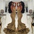 Sexy V NeckTrumpet Vestidos 2016 Spaghetti Strap Lantejoula Vestido de Baile Em Camadas Rabo de Peixe Sereia Moderna Formal Do Partido Vestido