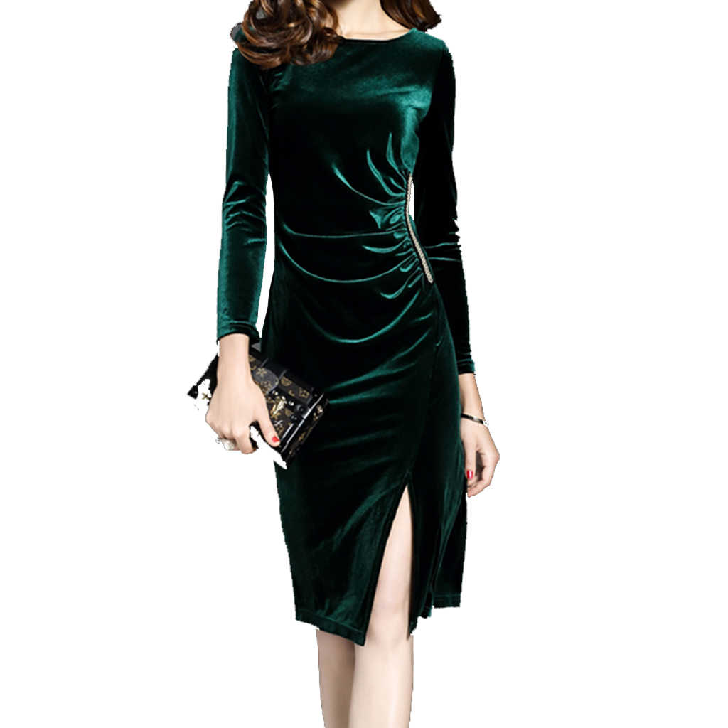 51610d3abe11f Wholesale Sexy Women Green Velvet Dresses Elegant Slimming Fashion Casual  Dress Tunics Robes Party Dress