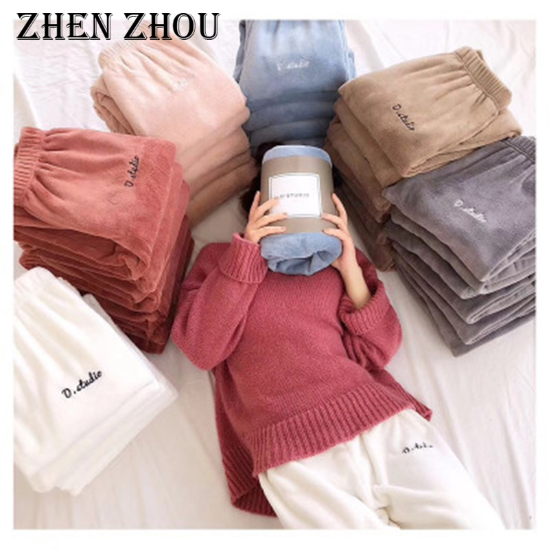 2019 New winter wear lantern pants home pajama pants elastic waist beam foot Japanese coral fleece casual pants sleep bottoms