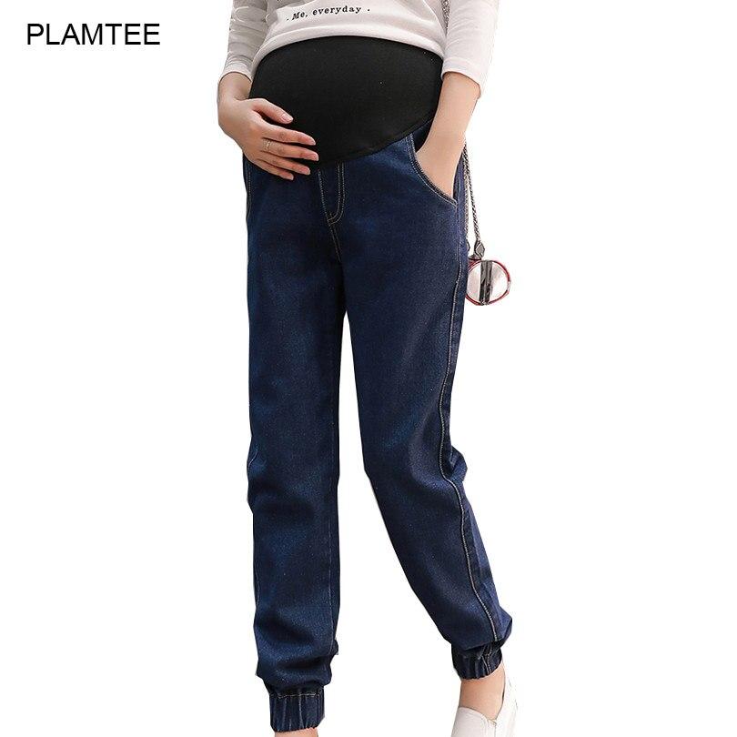 2017 Primavera Sólido Ropa de embarazo Pantalones vaqueros Cuidados pies cerrados Belly Hamile Giyim Plus tamaño M-2XL pantalones de mezclilla maternidad con bolsillos