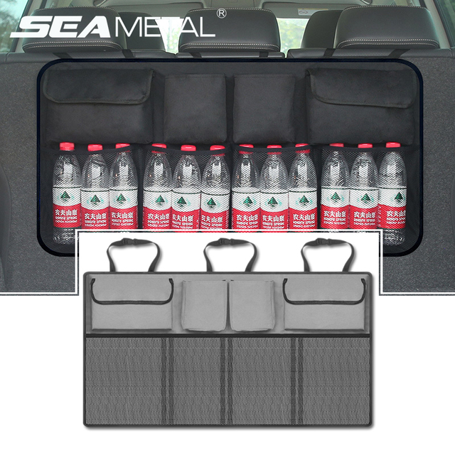 Car Organizer Trunk Back Seat Storage Bag Universal Mesh Net Pocket Stowing Tidying Automobile Backseat Auto Accessories For SUV