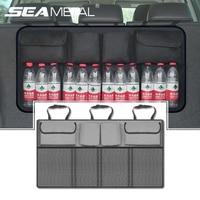 Car Organizer Trunk Back Seat Storage Bag Universal Mesh Net Pocket Stowing Tidying Automobile Backseat Auto