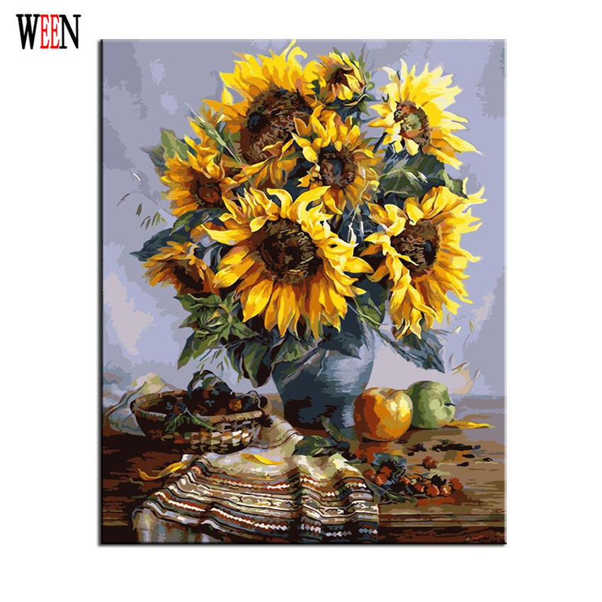 Sunflower Oli Painting Coloring by Numbers On Canvas DIY Hand Painted Cuadros Decoracion Oil Painting Murah