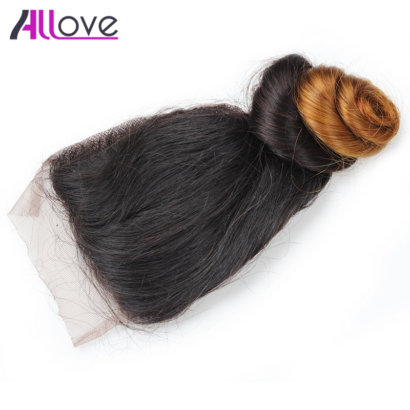 Allove Malaysian Hair Loose Wave Lace Closure Free Part Ombre Hair Weave Bundles 100% Remy Human Hair Loose Wave Lace Closure