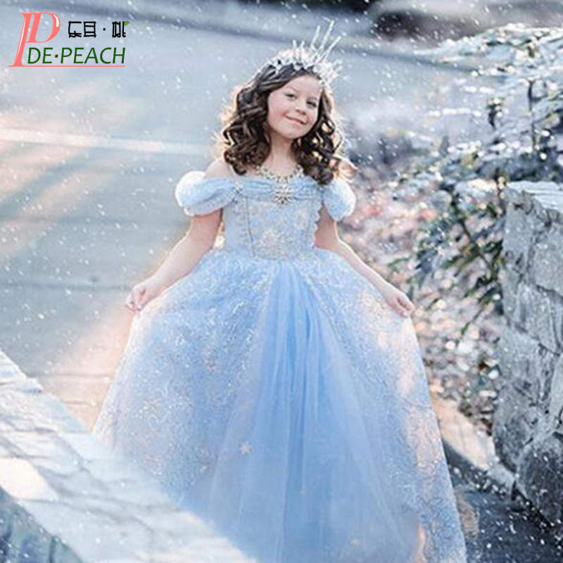 Snow White Princess Dresses For Girls Lace Tulle Cinderella Princess Party Dress 3-10Y Kids Clothing Summer Dress Girl Clothes 2016 new girls dresses cotton summer cinderella mopping dovetail princess dress kids clothes party lovely children 2 10y t0084