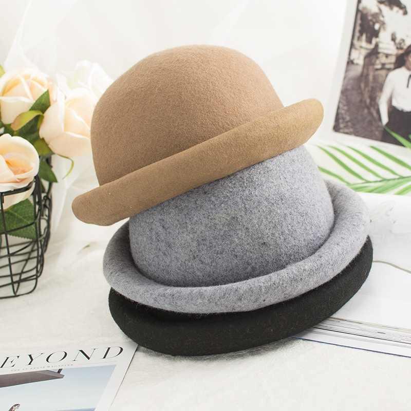 3ec7efb8228c3 Winter Autumn Women Ladies Fedoras Top Jazz Hat Fashion Vintage Women Wide  Brim Ribbon Warm Bowler