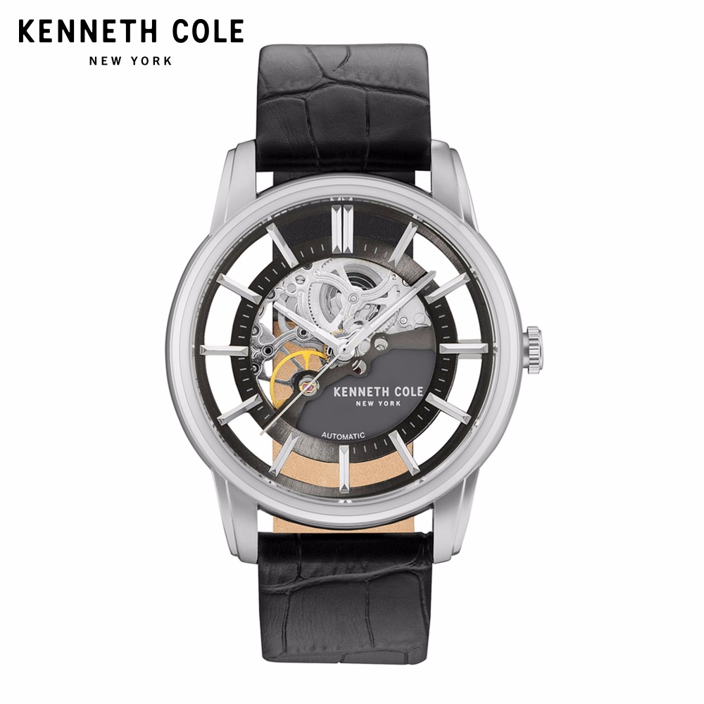 Kenneth Cole Mens Watches Auto Mechanical Silver Black Leather Buckle Strap Hollow-out Luxury Brand Waterproof Watch KC15116001 fashionable hollow out letter z shape embellished auto buckle belt for men