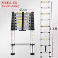 1.4 M Multifuncional escalera retráctil de aluminio de aleación de engrosamiento escalera plegable del hogar de bambú elevación escala portátil de Seguridad
