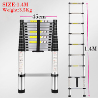 1.4 M Multifunctional retractable ladder aluminum alloy thickening folding ladder bamboo household ladder lift Safe portable