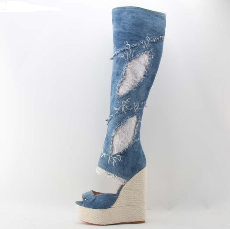 New Hot Selling Platform Boots for Woman 2018 Sexy Open Toe Lace Embroidery Wedge Boots Denim Blue Knee High Boots Jeans Boot недорго, оригинальная цена
