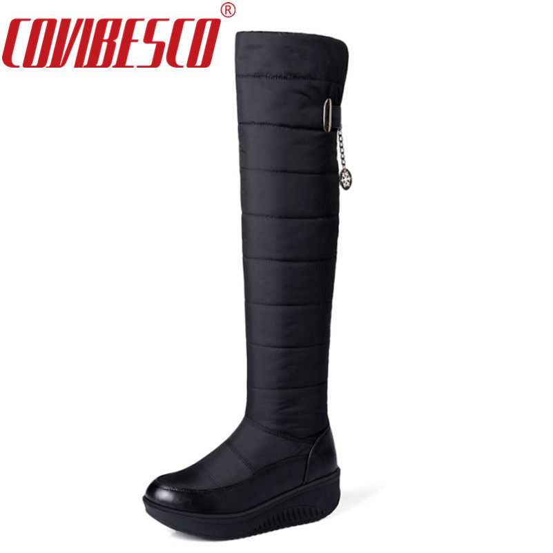 COVIBESCO  Large Size 35-44 Winter Snow Boots Women Fashion Warm Platform Shoes Over The Knee Boots Fur Thigh High Boots