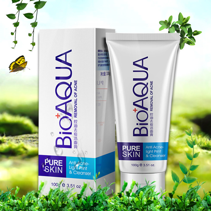 PURC Bioaqua Acne Treatment Facial Cleanser Black Head Remove Oil-control Deep Cleansing Foam Shrink Pore Deeply Clean Not Tight image