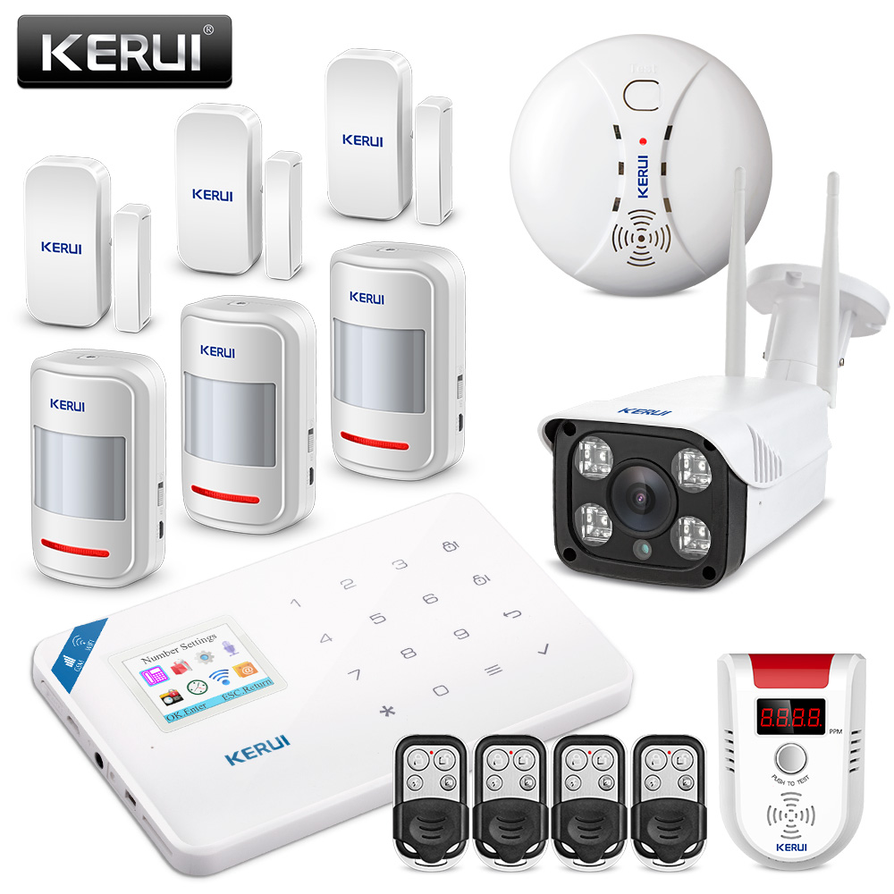 KERUI WI8 WIFI GSM Burglar Security Alarm System APP Metal Control Gas And Somke Detector Alarm With 1080P IP Waterproof Camera wireless rf remote control light switch 10a relay output radio ac 220v 110v 1 ch channel 1ch receiver module transmitter