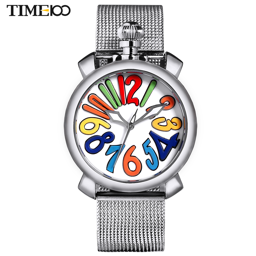 ФОТО Time100 Women Watches Stainless Steel Mesh Strap Big Dial Gaga Watch Quartz-Watch Wrist Watch For Women Luxury relogio feminino