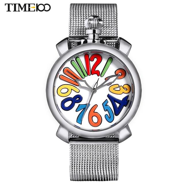 32771c30910 Time100 Women Watches Stainless Steel Mesh Strap Big Dial Gaga Watch  Quartz-Watch Wrist Watch For Women Luxury relogio feminino
