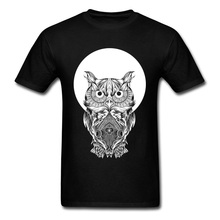 Black T-shirt Men White Print T Shirt Owl And Full Moon Geek Chic Short Sleeve Tees Cotton Fabric Tops Crewneck Streetwear Cool