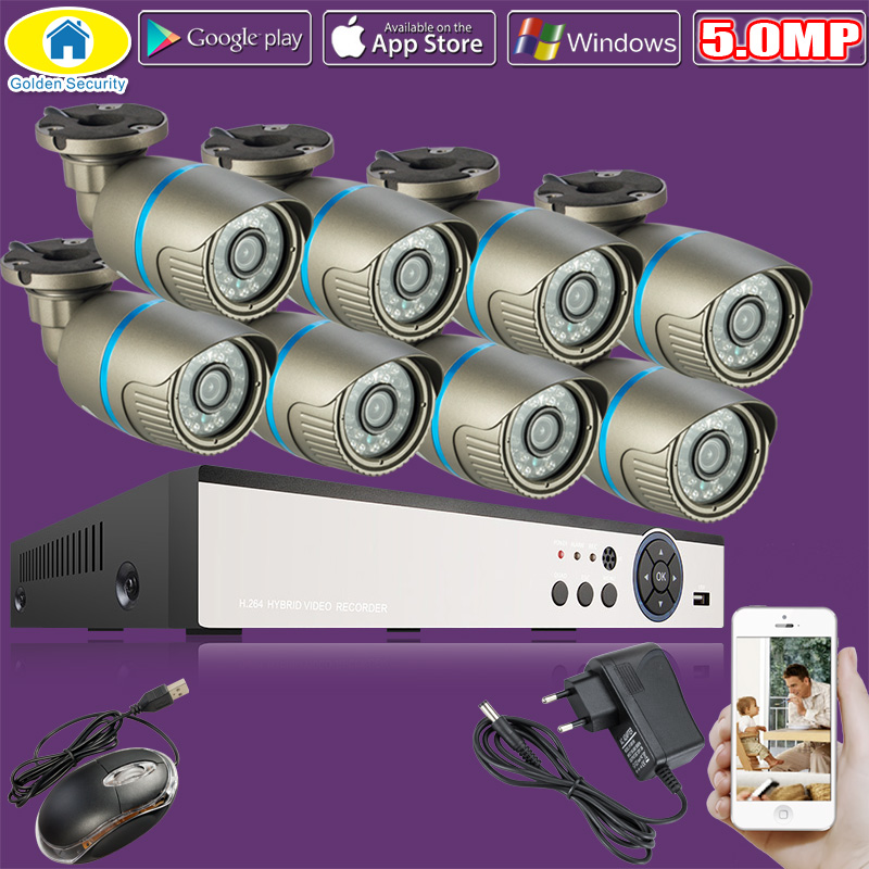 Golden Security HD 8CH CCTV System 8 Channel 1920P DVR 8PCS 5.0MP Bullet Outdoor Home Video Camera Surveillance Kits