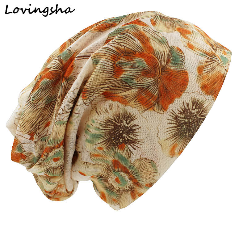 100% Wahr Lovingsha Mode Marke Herbst Winter Vintage Design Dual-use-hüte Für Damen Dünne Skullies Mützen Frauen Schal Gesichtsmaske Ht032