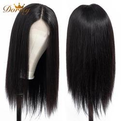 Застежка парик кружева закрытия парик Синтетические волосы на кружеве человеческих волос парики закрытия для черный Для женщин Dorisy не