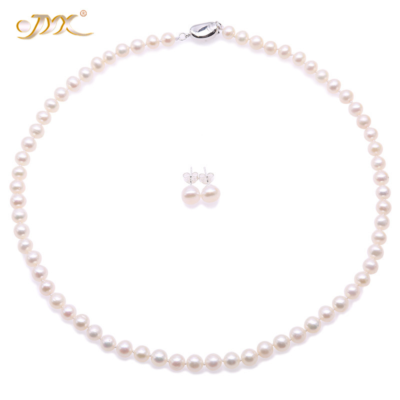 JYX 2018 New High Quality 6.5mm Round White Cultured Freshwater Pearl Necklace and Earrings Set for Women Christmas jewelryJYX 2018 New High Quality 6.5mm Round White Cultured Freshwater Pearl Necklace and Earrings Set for Women Christmas jewelry