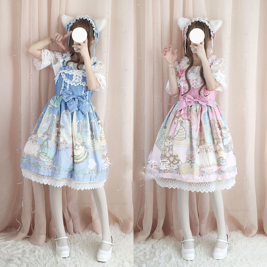 Palace Cat Party Cute Lolita JSK Dress Women's Gorgerous Lace Trim Bows Fairy Kei Sleeveless One Piece Dolly Princess Dress