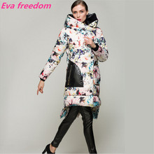 Brand casaco 2016 catwalk models fashion winter coat women long thicker printing irregular white duck down jacket parka